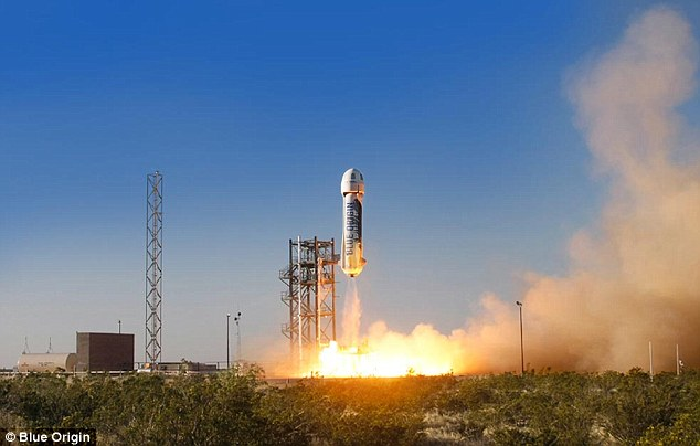 Jeff Bezos' Blue Origin company has completed a successful spaceflight test in West Texas (shown). The New Shepard vehicle rose to a height of 58 miles (94km) - four miles short of space - before landing. It was unmanned, but will ultimately take six people into space