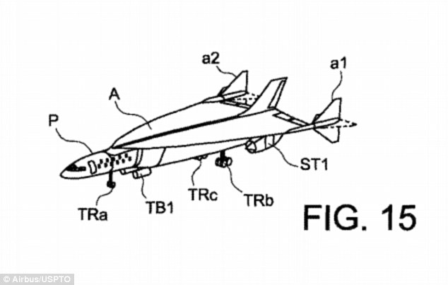 A trip from London to New York could take just one hour if Airbus has its way. The aerospace manufacturer is designing a hypersonic jet that it hopes will take people between the two major cities faster than most daily commutes. Pictured is a illustration of what it could look like from a recent patent application