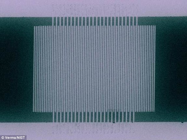 Scientists have achieved a world record in the strange world of quantum teleportation. In something that sounds like an episode of Star Trek, researchers have managed to teleport packets of light over 60 miles (100km) of optical fiber. Pictured is a single-photon detector made of superconducting nanowires