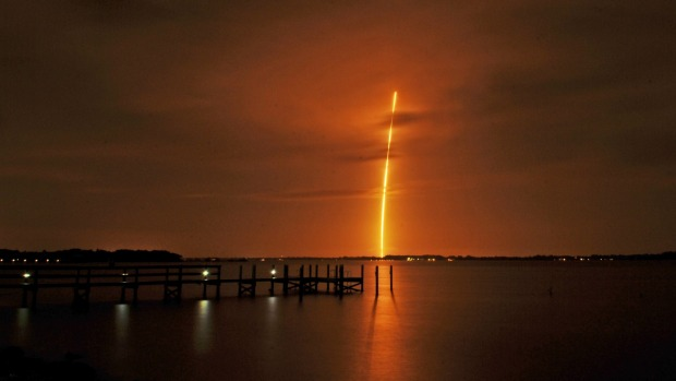 The SpaceX Falcon 9 launches over Florida. Photo: AP