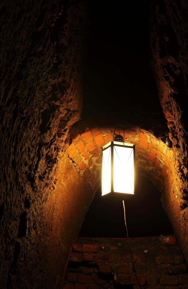 EA lamp within the Williamson Tunnels in Liverpool.S