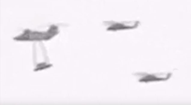 UFO being transported by Russian Military Helicopters