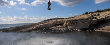 Hoverboards are REAL: Breathtaking footage shows a man soaring above the ocean on a device that can reach 10,000ft