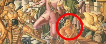 Is this PROOF time travel exists? 400-year-old native pictured with IPHONE in mural