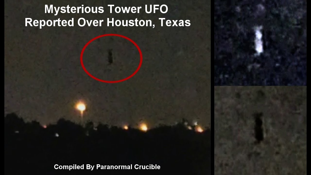 Unknown Tower Shaped UFO Filmed Flying Over Houston, Texas